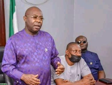 Desmond Akawor, Chairman PDP, Rivers State addressing the leaders of PDP from Andoni local government area of Rivers State.