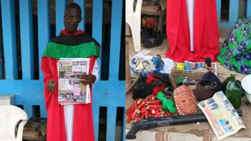 Ikechukwu Umaefulam, suspected  chief priest of the proscribed Indigenous People of Biafra (IPOB) arrested by the Police in Imo and items recovered from him