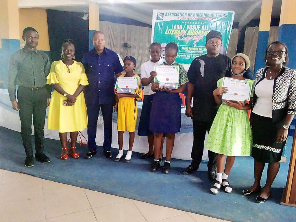 Winners of the Reading Competition organized by Rivers State branch of Association of Nigerian Authors and Personalities.