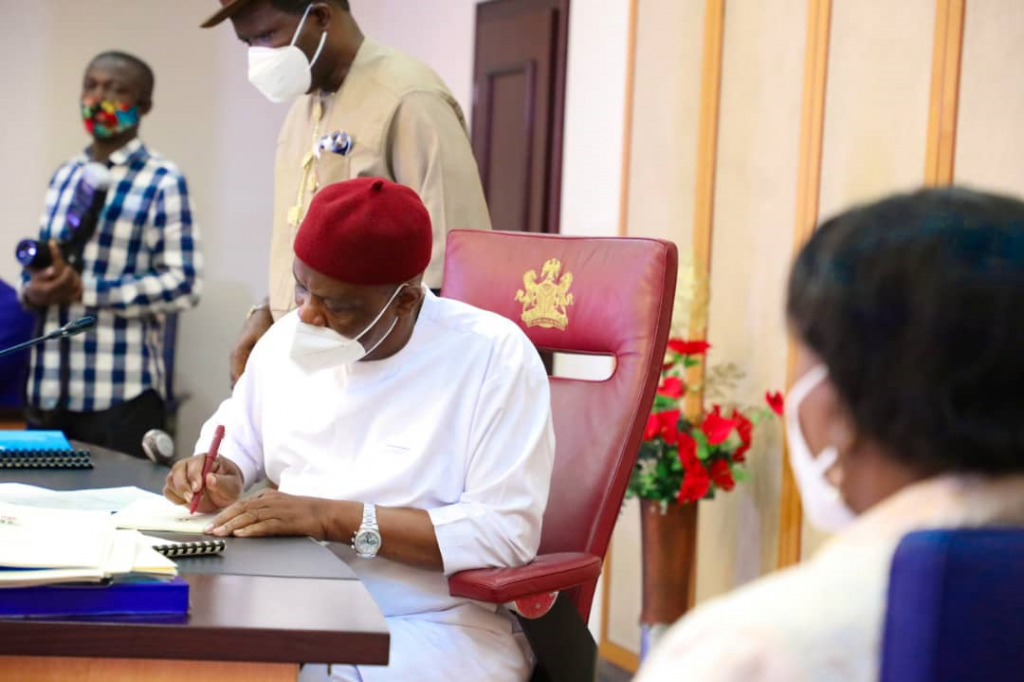 Governor of Rivers State, Nyesom Ezenwo Wike signing into law bills on VAT collection, Open Grazing prohibition and others at the Government House, Port Harcourt on Thursday.
