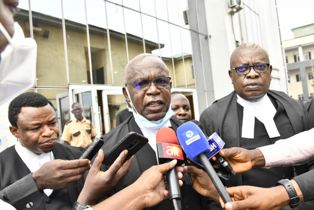 Donald Chika Denwigwe, SAN (middle) lead counsel to Government of Rivers State and Ken C.O. Njemanze, SAN (left) briefing journalists after the Federal High Court in Port Harcourt on Monday declared FIRS collection of Value Added Tax in Rivers State unconditional.