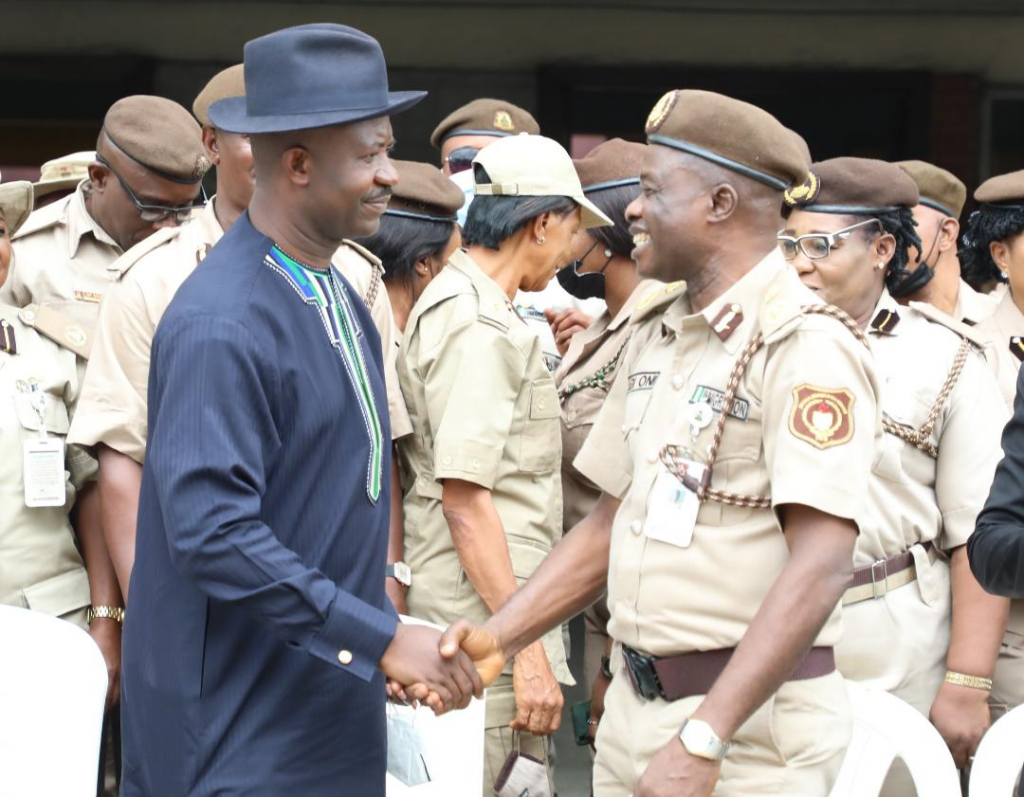 Secretary to Government of Rivers State, Dr. Tammy Danagogo (left) and Comptroller of the Nigeria Immigration Service (NIS),  Rivers State Command, Dayo Idowu (right) at the 2021 sensitization and enlightenment workshop organised by the NIS in Port Harcourt on Friday.