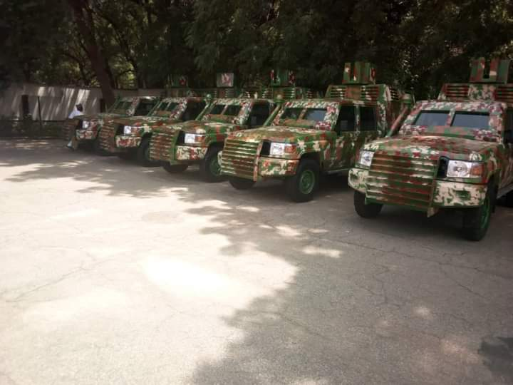 The armoured vehicles produced locally by the fabricating team led by the Dep. Gov. of Kebbi state, who is a retired military officer.