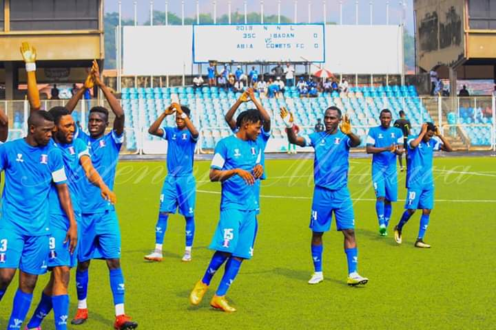 Players of Shooting Stars Sports Club (3SC) now promoted to the Nigeria Professional Football League (NPFL)