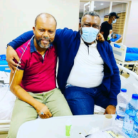 Uche and his Elder brother Leo Edochie at hospital