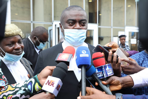 Counsel for the Government of Rivers State, Mark Agwu addressing journalists at the Federal High Court, Port Harcourt after the court on Monday  dismissed FIRS application for a stay of execution over the judgment empowering Rivers State to collect VAT, other related taxes.