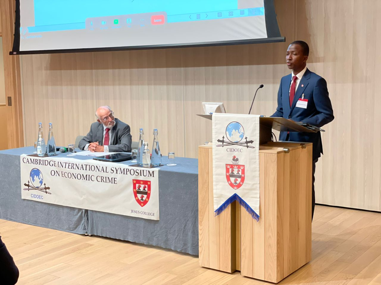 """The Chairman of the Economic and Financial Crimes Commission, EFCC, Abdulrasheed Bawa delivering his  address at the 38th  Cambridge International Symposium on Economic Crime, themed, """"Economic Crime-Who pays and who should pay?"""", organized by the Center for International Documentation on Organized and Economic Crime (CIDOEC), Jesus College, University of Cambridge,, United Kingdom."""