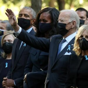 Biden,Obama,Clinton at the National Sept. 11 Memorial, sharing a moment of silence to mark the 20th anniversary of U.S. worst terror attack with a display of unity.
