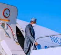 President Muhammadu Buhari arrives JF Kennedy International Airport in New York on Sunday evening for the UN General Assembly.