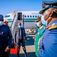 President Muhammadu Buhari being welcomed on arrival at JF Kennedy International Airport in New York on Sunday evening for the UN General Assembly
