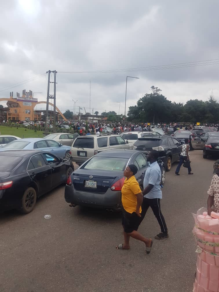 Students on Uniben protesting in Benin on Tuesday