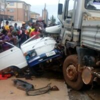 Nine feared dead as the tipper collided with two buses in the accident in Benin, Edo State