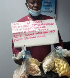 The arrested suspect with intercepted drugs worth N2.3billion