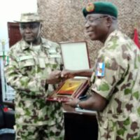 Acting General Officer Commanding (GOC), 7 Division, Brig.-Gen. Abdulwahab Eyitayo and Director, Army Public Relations, Brig.-Gen. Onyema Nwachukwu during a visit to the GOC on in Maiduguri on Tuesday, 21/9/2021