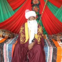 The Minister of Information and Culture, Alhaji Lai Mohammed, in a traditional regalia after his turbaning as 'Kakakin Kabi' in Argungu, Kebbi State on Sunday