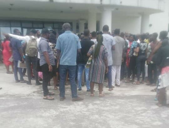 A Cross Section of Npower programme beneficiaries at the Ikwerre local government Council Secretariat, Isiokpo, today Thursday September 23.