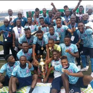 Niger Tornadoes FC of Minna players: emerged the Champions of the 2020/2021 super 8