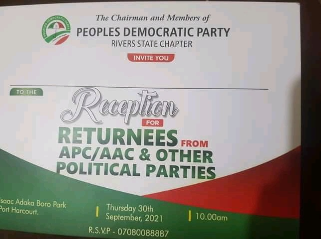 PDP invitation card for the event