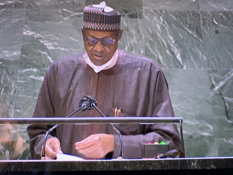 President Muhammadu Buhari delivers his speech at the 76th Session of the UN General Assembly on Friday in New York