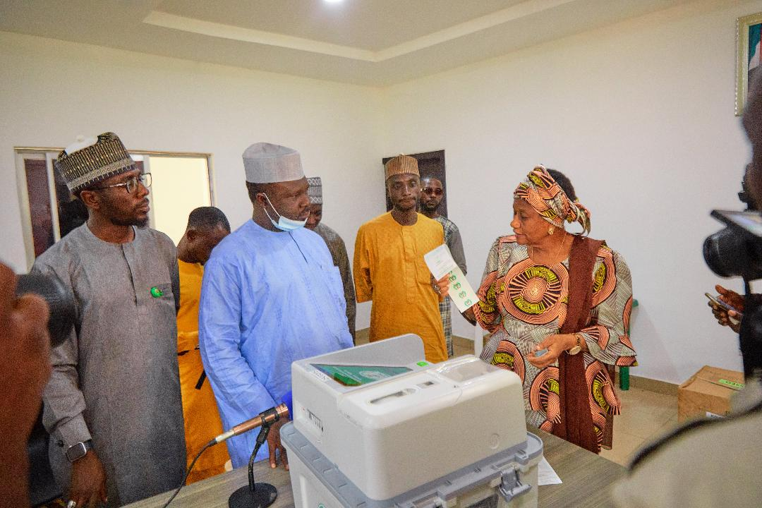Dr. Saratu Binta Dikko-Audu, chairman of KADSIECOM, at an event to present the upgraded electronic voting machines for the 2021 local government elections.