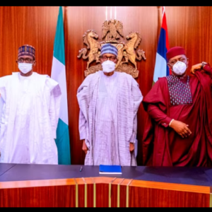 In this photo taken on September 16, 2021, President Buhari is flanked by Governor Buni and Governor Matawalle (to the left), as well as Mr Fani-Kayode and Mr Mustapha (to the right) at the Presidential Villa in Abuja