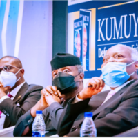 LR: Governor Sanwo-Olu, VP Osinbajo and Pastor Kumuyi at the book launch in Lagos on Friday