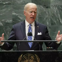 U.S. President, Joe Biden delivering his inaugural address to the annual gathering of world leaders at the UN General Debate of the 76th session of the General Assembly at the UN headquarters in New York.
