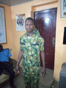 Segun Ogundeji, who impersonated as a soldier at Sango-Ota Police Divisional Headquarters in Ogun.