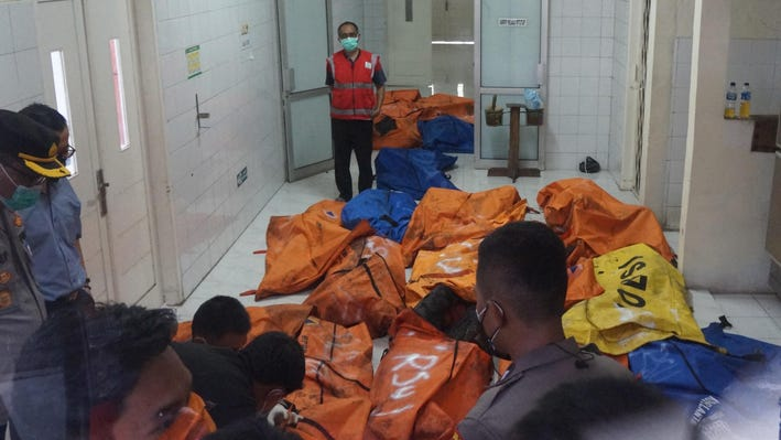Remains of some of the inmates burnt in Indonesia's Tangerang prison fire in body bags
