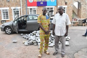 Patrick Kalu, 60, a retired Police Sergeant, and Friday Kalu, 40, arrested for being in possession of bags of Indian hemp