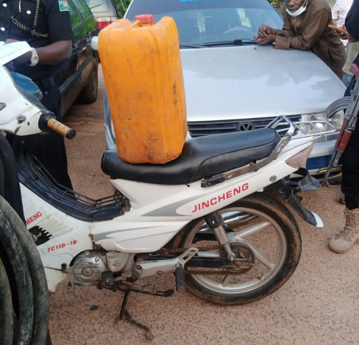 One of the suppliers of fuel to bandits arrested conveying fuel in a Passat vehicle to his customers in the forest