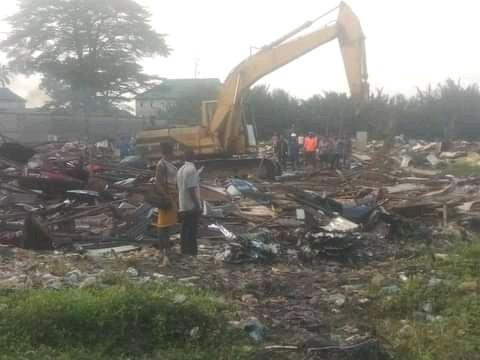 Bulldozer at work in Nkpogu waterfront on orders of Governor Wike on Wednesday