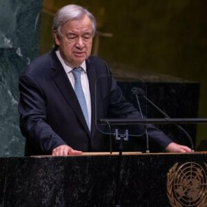 UN Photo/Cia Pak Secretary-General António Guterres addresses the opening of the general debate of the UN General Assembly's 76th session.