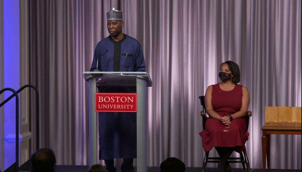 The Permanent Representative of Nigeria to the UN, Prof. Muhammad Bande, delivering his acceptance after being conferred with the Distinguished Alumni Award by Boston University, Massachusetts, United States.