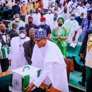 Buhari presents the document for N16.39trn 2022 Budget proposal to joint session of NASS