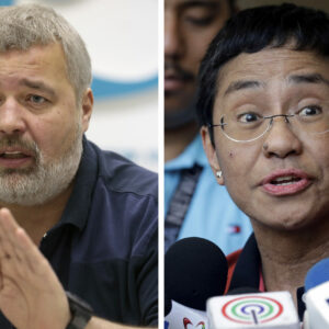 Two campaigning journalists, Maria Ressa and Dmitry Muratov, for winning the 2021 prestigious Nobel Peace Prize.