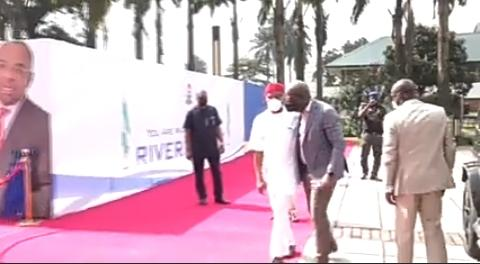 Governor Nyesom Wike who is the host, welcomes his Edo State counterpart, Godwin Obaseki