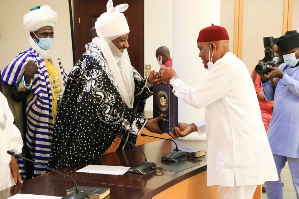 Governor of Rivers State, Nyesom Ezenwo Wike (right) presenting a souvenir to former Emir of Kano and Grand Khaleefa of the Tijaniyyan Order in Nigeria,  His Royal Highness, Muhammad Sanusi II (left), during the latter's courtesy visit to the Governor, at Government House, Port Harcourt on Sunday.